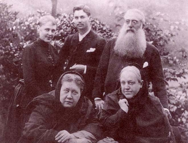 H.P. Blavatsky in London, 1888 with her sister, niece, Charles Johnston and Henry Olcott